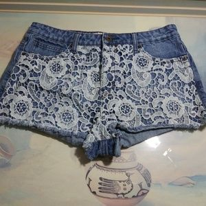Forever 21 Shorts - Forever 21 denim blue white lace jeans shorts